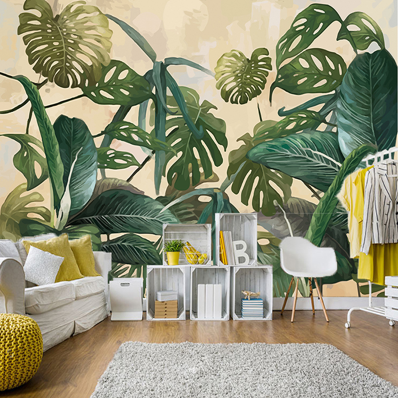 Retro Tropical Rain Forest Palm Banana Leaves Mural Wallpaper 3D Living Room Background Wall Papers For Walls 3D Papel De Parede