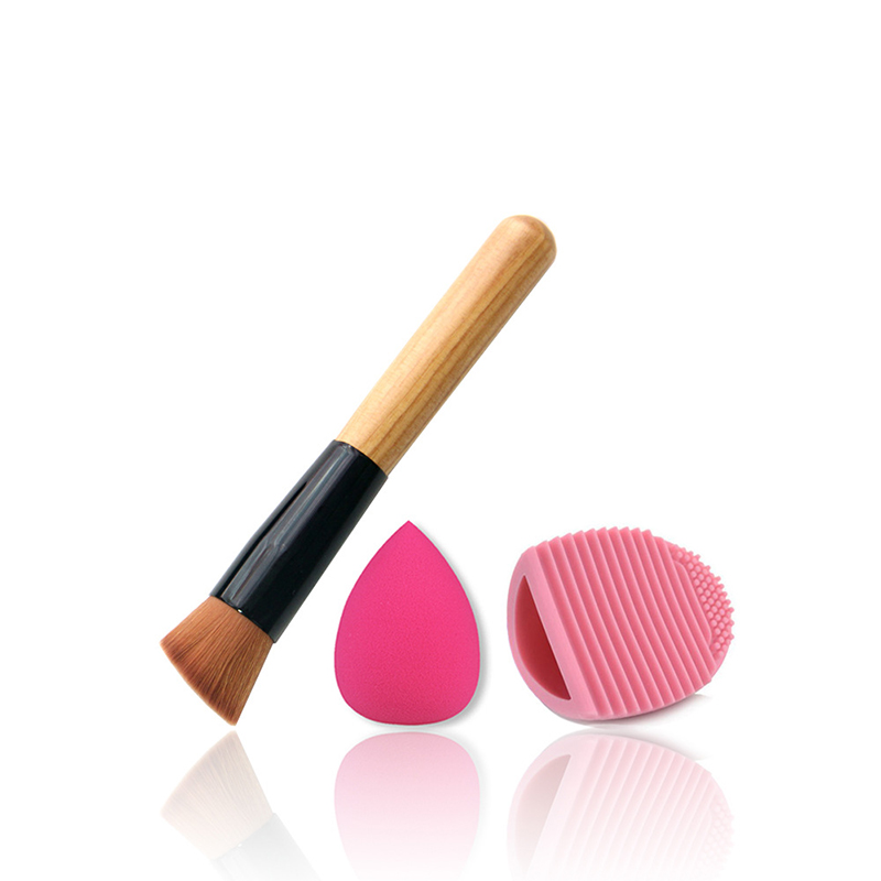 Makeup Set Multifunctional Flat Round Oblique Head Brush Wool Fiber Kit+Waterdrop Puff+Brush Cleaner Egg