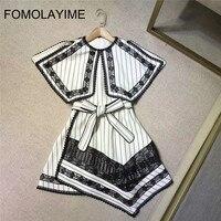 FOMOLAYIME High Fashion Runway Dress 2018 Women Summer Luxury Party Dress