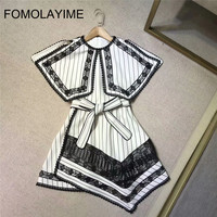 FOMOLAYIME High Fashion Runway Dress 2018 Women Summer Luxury Party Dress