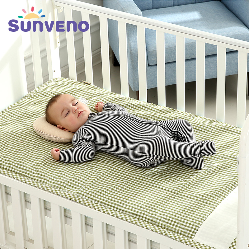 SUNVENO Brand Cotton 3-layer Design Breathable Baby Cot Sheets Children Summer Sleeping Mat Crib Bed Sheets for Newborn <font><b>120*70</b></font> image