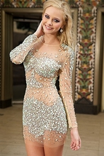 Sexy Langarm Perlen Kristalle Über Knie Länge Mini Perlen Durchsichtig Cocktailkleider 2015 Short Prom Kleider