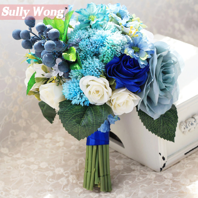 Sully Wong 2017New Silk Flower Wedding Bouquet Blue Romantic Roses Artificial Flowers Fall Vivid Fake Leaf