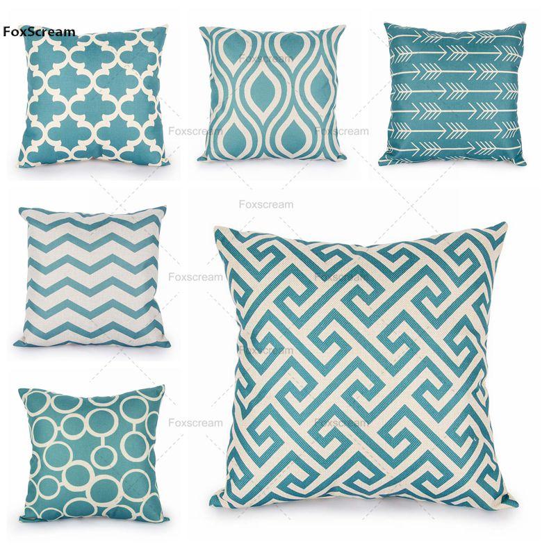 pillow decorative for sofa day futon quatrefoil turquoise case pillows linen ...