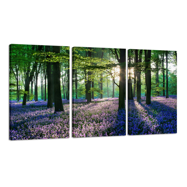 Romantic bluebell in forest hd canvas print wall art for living room bedroom decoration canvas