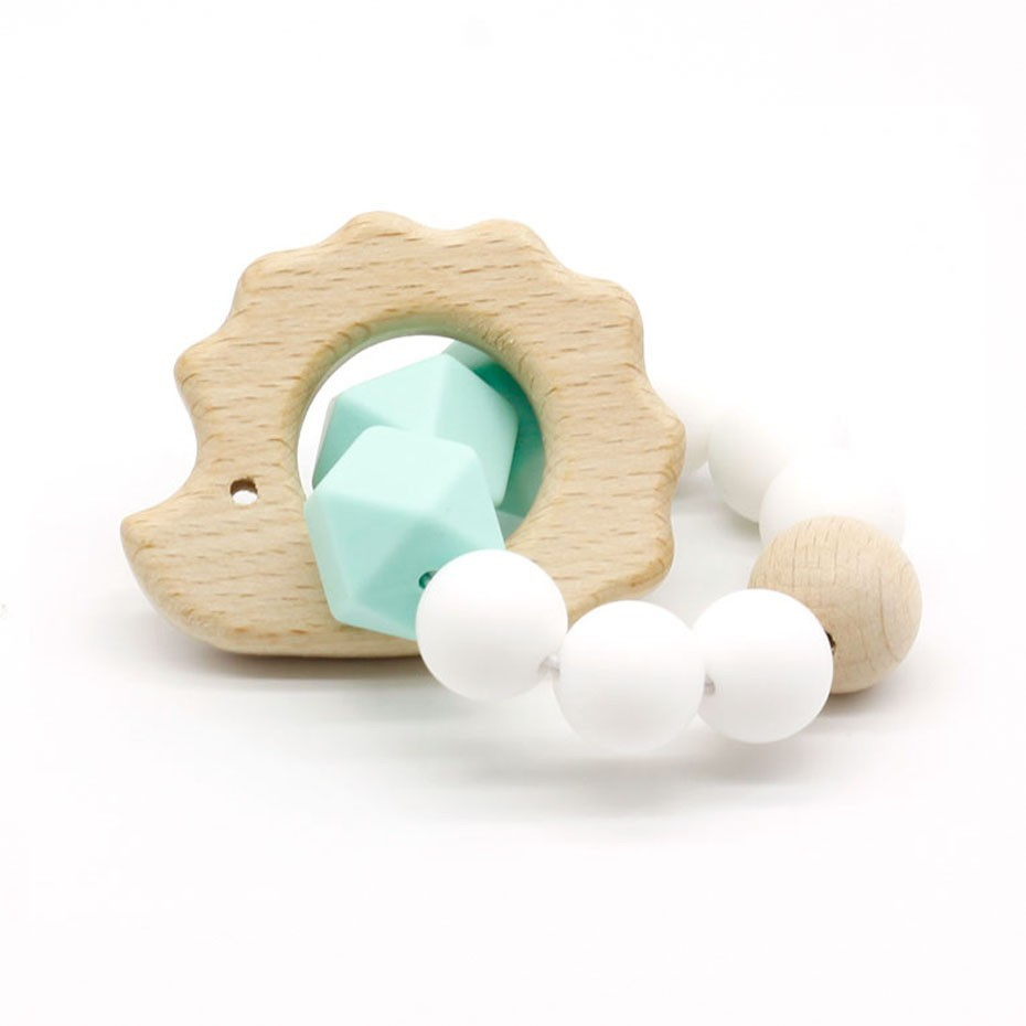 Baby Wooden Toys Fox Hedgehog Elephant Dolphin Silicone Beads Toys For Children Teething Bracelet Baby Bracelet Rattle