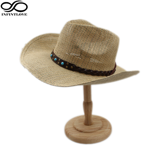 LUCKYLIANJI Bohemia Style Leather Band Adjustable Chin Strap Cowboy Western  Summer Straw Sun Ranchero Cap Casual c24cfc6785f6