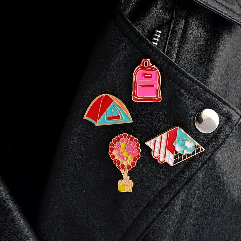 Fire Balloon Swimming Pool Tent Backpack pins Brooches Badges Hard enamel lapel pin Hat  ...