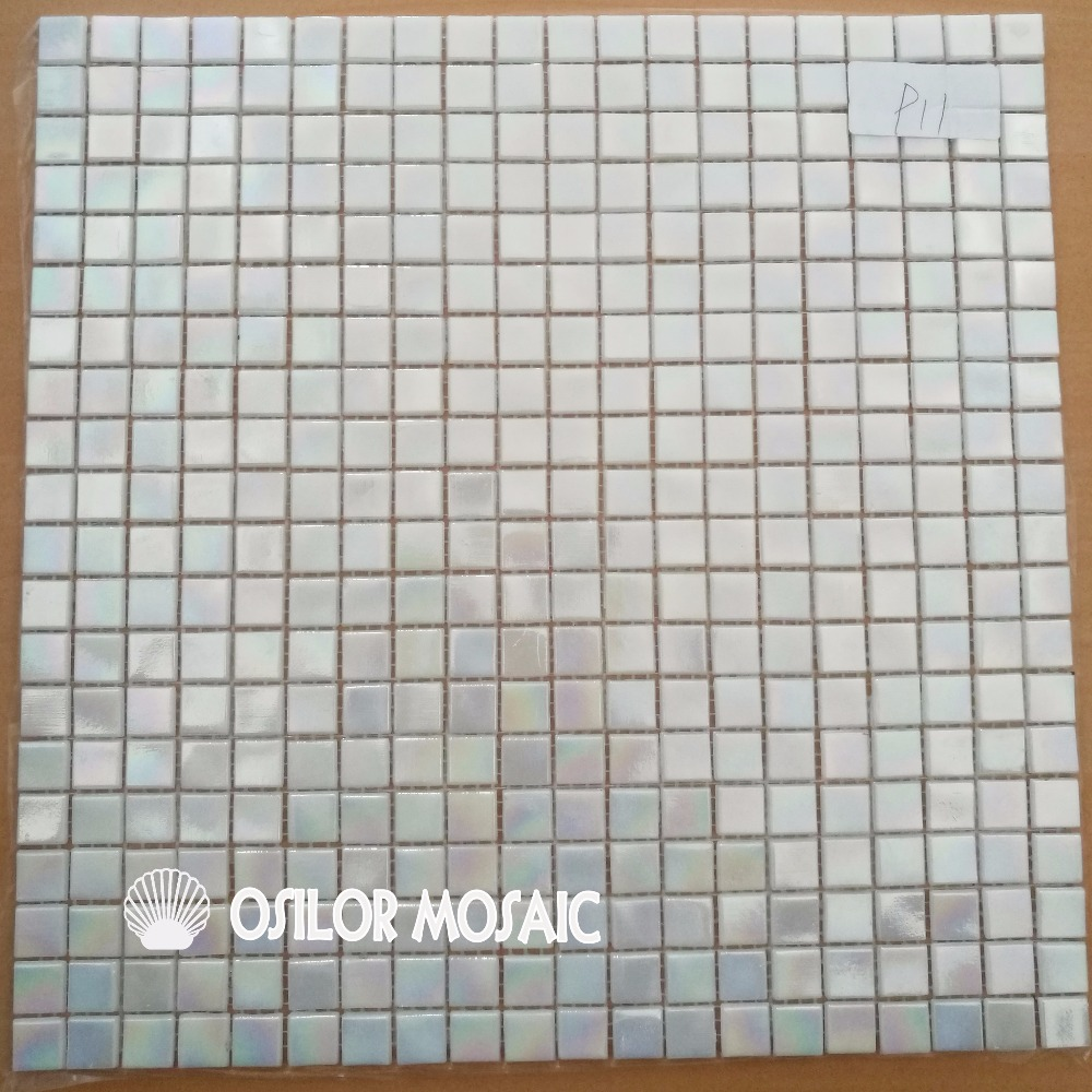 Free shipping Glimmer Rainbow Iridescent White glass mosaic tile for ...