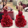 Sexy Borgoña Sirena Vestidos de Baile 2017 de Espagueti Del Amor Del Cordón de Tulle Verde Sin Respaldo Vestidos de Noche vestido de festa