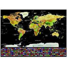 Unique Classic Travel World Map Wall Sticker Scratch Off Word With Flags US States For Office Home Study Durable Decor