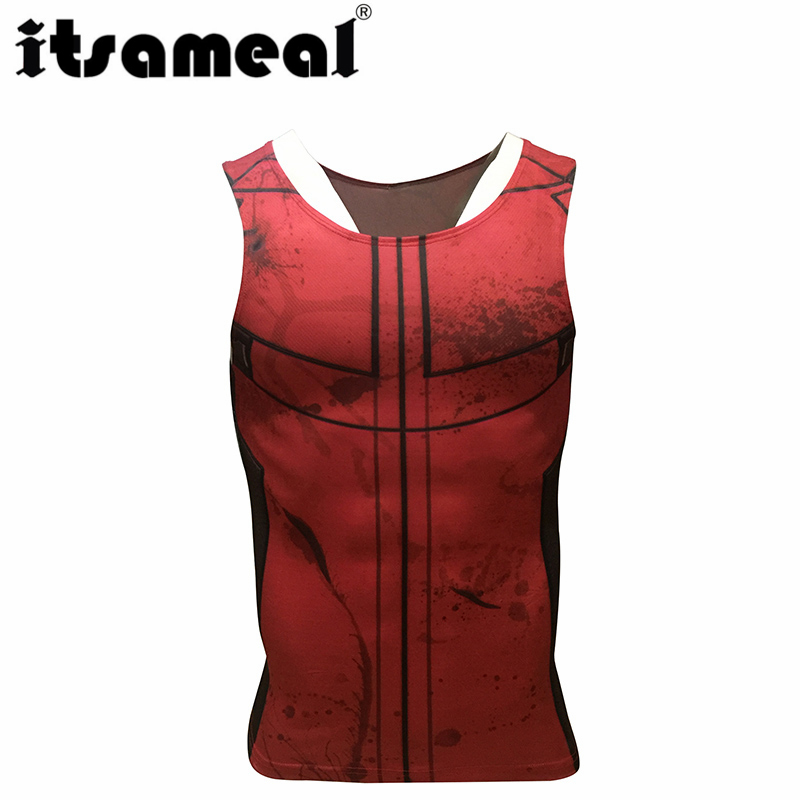 Deadpool Compression Men 3D Printed T-shirtsVests cosplay Tank Tops Sleeveless Fitness Body Building Male Crossfit Tops