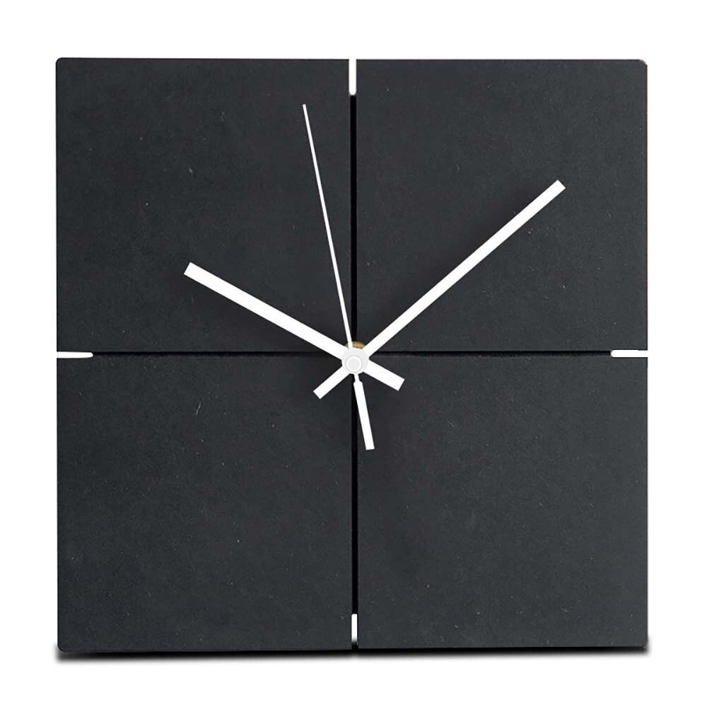 Grande horloge murale suspendue en bois MDF silencieux bois européen carré horloges murales chambre bureau Simple Design moderne décor à la maison noir
