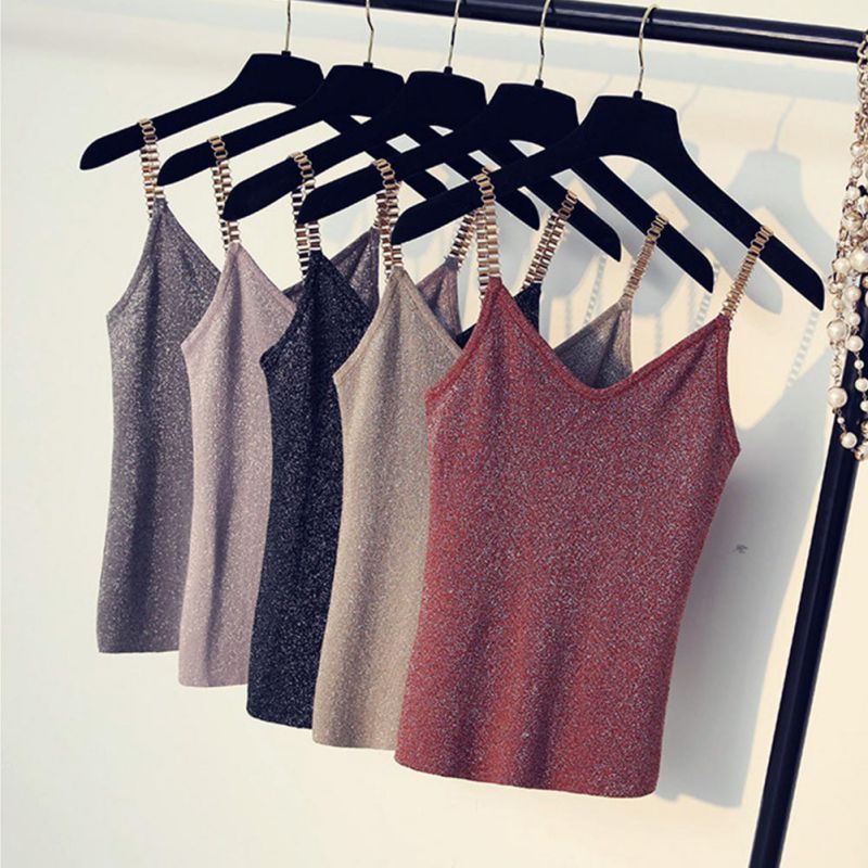 Sleeveless   Tank     Tops   Sexy Women V-Neck Knitted Camisole Club Spaghetti Metal Strap Camis Thin Shiny Glitter