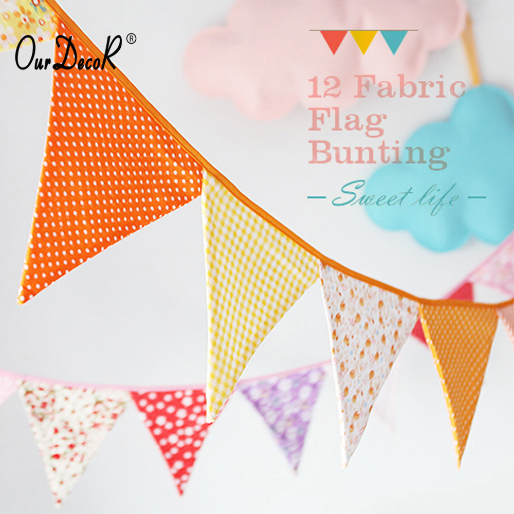 3m Double sided fabric bunting weddings christenings parties birthdays