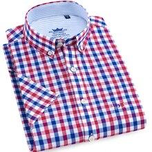 Mens Plaid Shirt Pure Cotton Summer 100% Casual Fashion man  Oxford Shirts