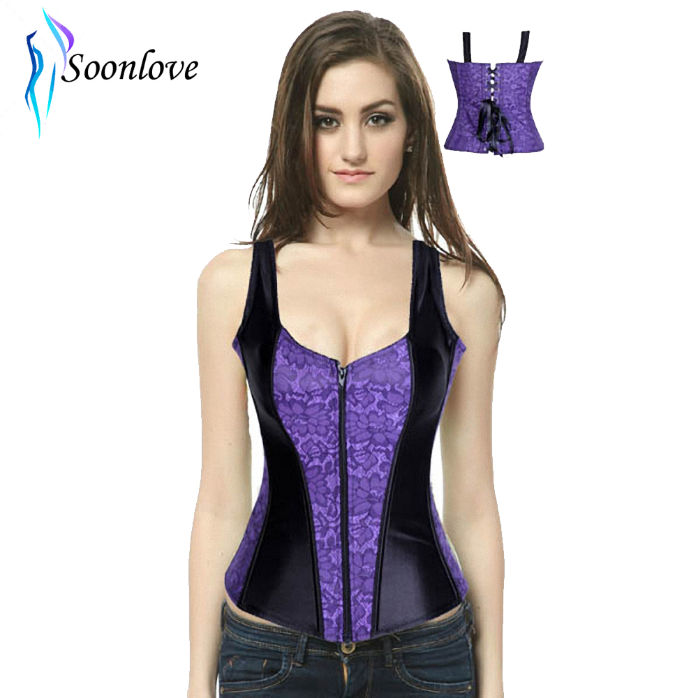 Free Dropshipping 2013 New Coming Black/Purple/Red Full Two Strap Toned Corset