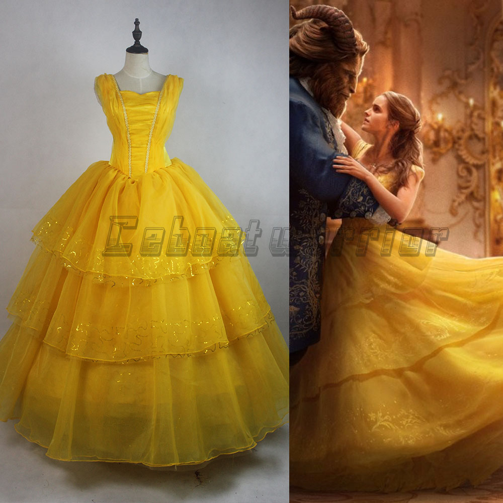 2017 New Movie Beauty and the Beast Princess Belle Emma Watson adults cosplay costume  yellow dress  Custom made