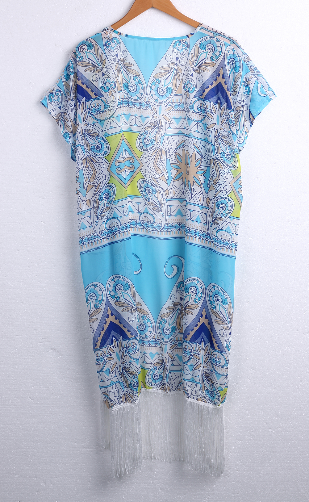 4d16e46e0791e Women Summer Bikini Chiffon Cover Up Beach Dress Brazilian Blue Tassels  Monokini Bikini Swimwear Bathing Cover Ups Print -in Cover-Ups from Sports  ...