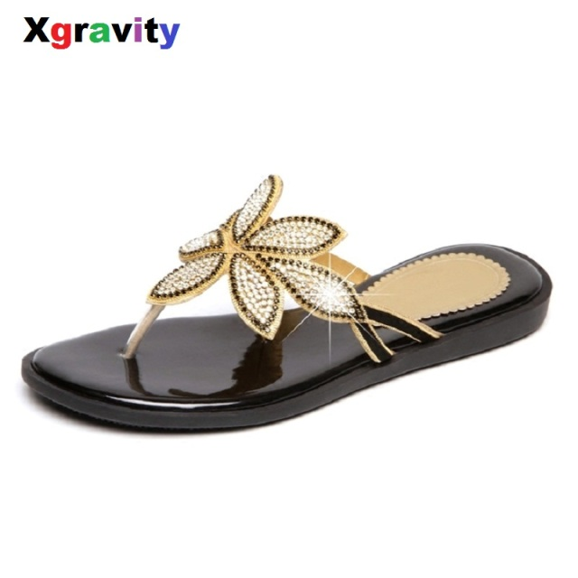 2019 Summer Shoes New Ladies Casual Leaf Shoes Sexy Crystal Rhinestone  Design Women Sandal Hot Ladies Flip Flop Slippers B260 6499d4360465