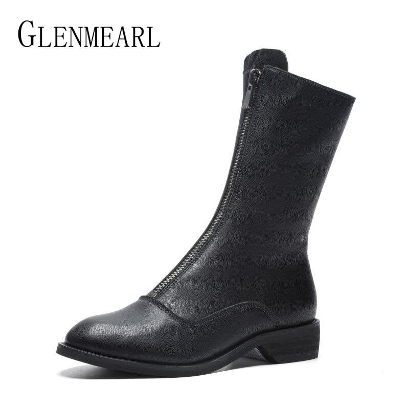 Роскошная женская обувь из натуральной кожи обувь до середины икры платформа, большой каблук ботинки с круглым носком Женская мода на молни...