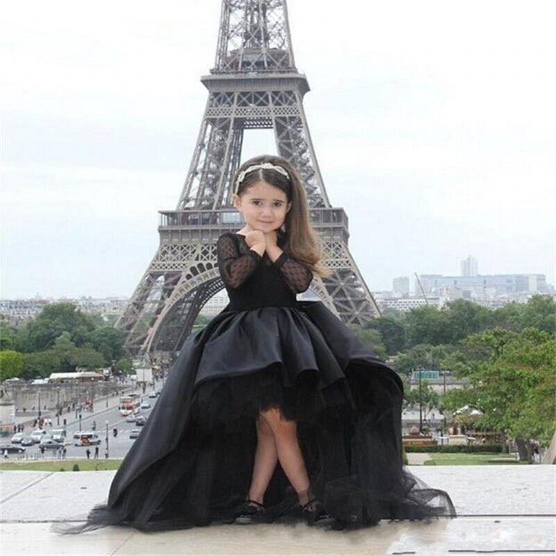 Luxus Benutzerdefinierte Eine Linie Brautkleid Lange Ärmel Kleid Mutter Tochter Passenden Kleidung Familie Aussehen Mädchen und Mama Kleidung - 2