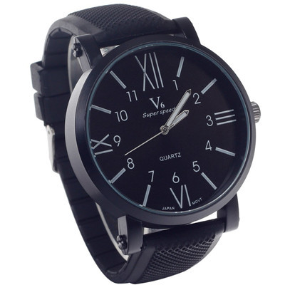 V6 Quartz Watches Men Luxury Brand Super Speed Roman Numerals Dial Silicone Analog Military Top Hot Black Relogio Masculino - Orchid Trading Co.,Ltd store