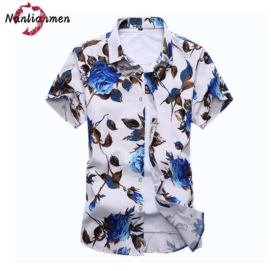 2017 new floral shirt men camisa social masculina slim fit for Mens slim hawaiian shirt