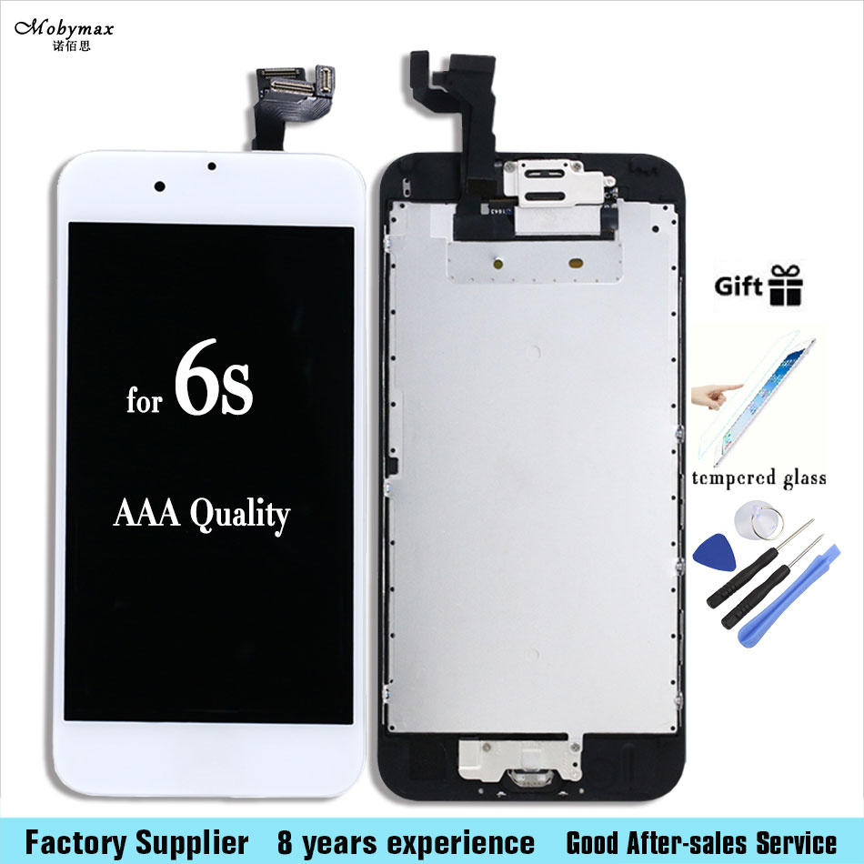 Camera Home Button Black white LCD Screen Digitizer Assembly display with Tools for iPhone 6s 4.7inch +Tempered Glass