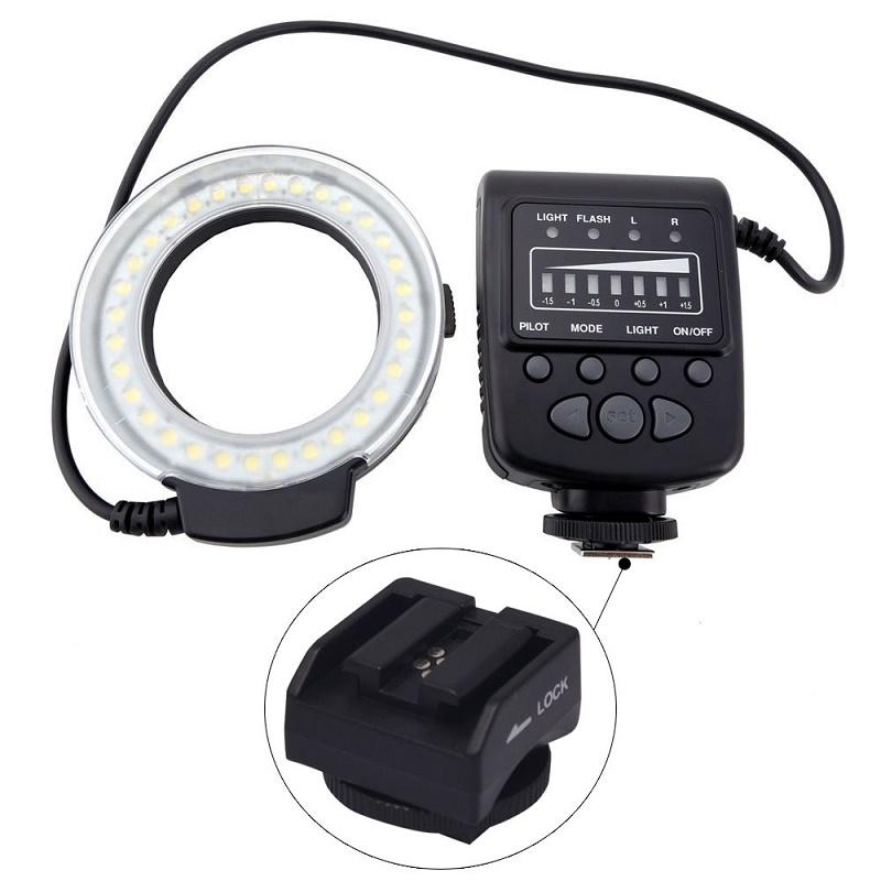 Prix pour Mcoplus FC100 Macro Ring Flash LED Lumière + SH21 pour Sony RX100M2 RX1 RX1R A6000 A7 A7R A7S NEX-6 A3000 A99 A58 HX400 HX60 HX50