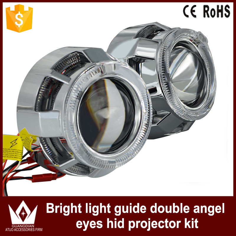 Night Lord Dual Color C-Ree Circular Round guide Double Angel Eyes bi-xenon Projector Lens Light For CAR Headlights Angel Eyes mp620 mp622 mp625 projector color wheel mp620 mp622 mp625