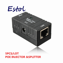 5 pcs/lot RJ45 POE Injector Power over Ethernet Adapter For IP  Camera,IP Phone,CCTV AP power supply connector