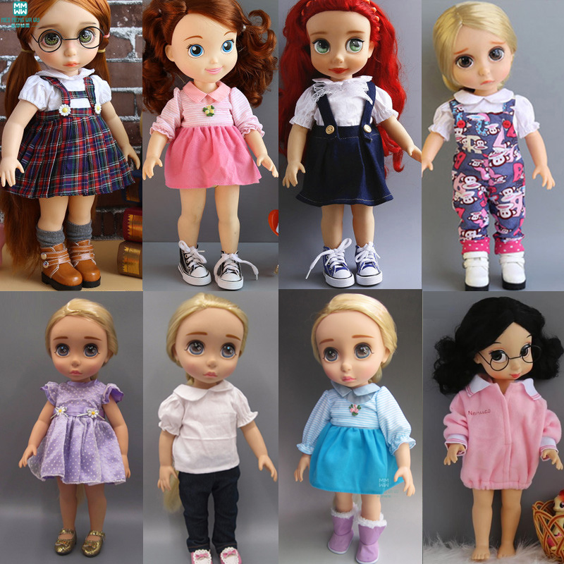 Дрехи за кукли за 40см Анна Елза Шарън кукли аксесоари Бяла рокля за дрехи Пола от деним
