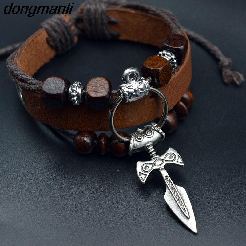 Bangles Rongji Jewely Fashion Viking Ax Wrap Bangles Bracelets Amulet Thor 2 Methods Of Use Cosplay Jewelry Men Women Last Style