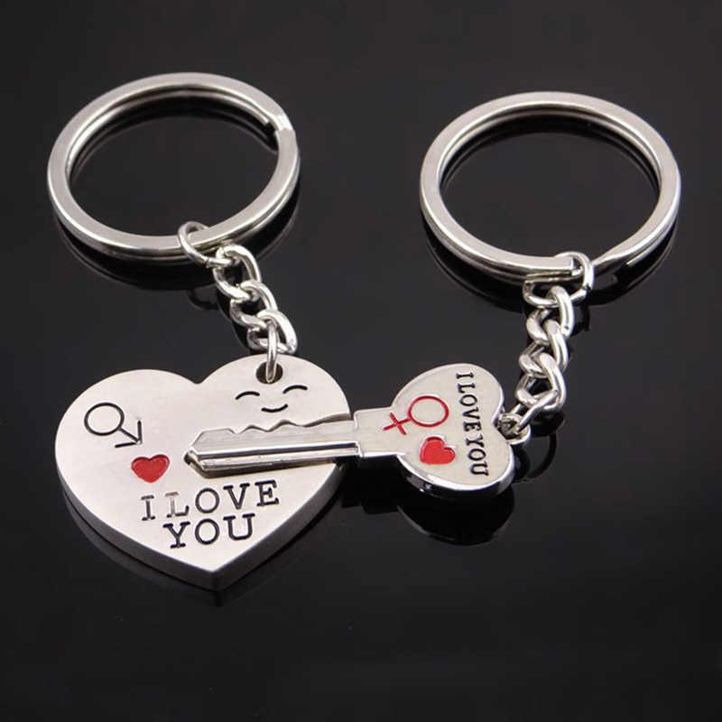 Модное кольцо для ключей в форме сердца серебряного цвета, брелок для влюбленных, подарок на день Святого Валентина, 1 пара, брелок для ключей с надписью I Love You