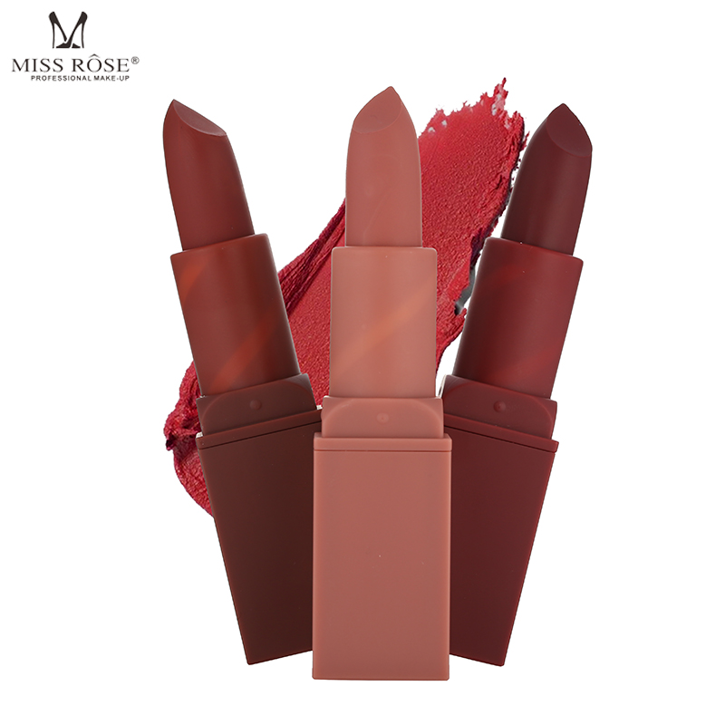 MISS ROSE 12 Colors Lipstick Makeup Tint Lip Matte Lipstick For The Lips Waterproof Cosmetics Make-up Red Nude Long Lasting