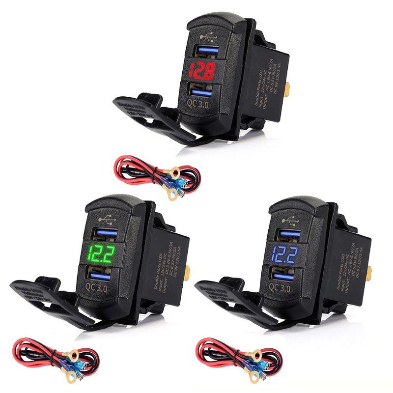 Frete grátis carga rápida 3.0 duplo usb interruptor de balancim qc 3.0 carregador rápido led voltímetro para barcos caminhão do carro motocicleta smartphone tablet hm