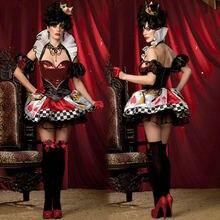 Алиса в стране чудес Косплэй костюм женские пикантные красные