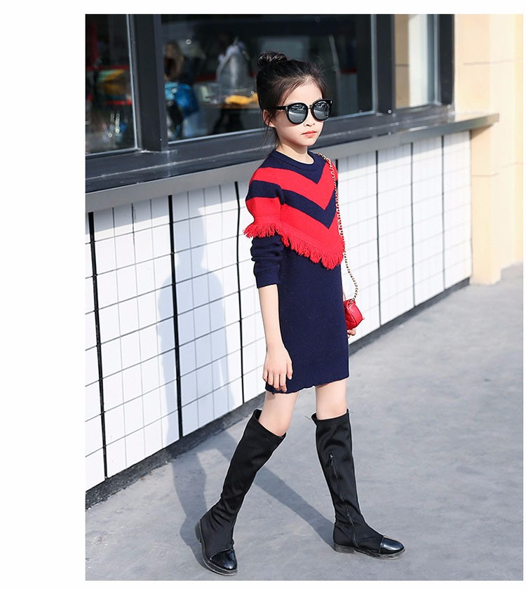 2017 new knitting tassels girls sweater spring autumn winter casual children school clothing preppy style knitted kids sweaters girls dresses 6 7 8 9 10 11 12 13 14 15 16 years old little teenage big girls long sweater dress (11)