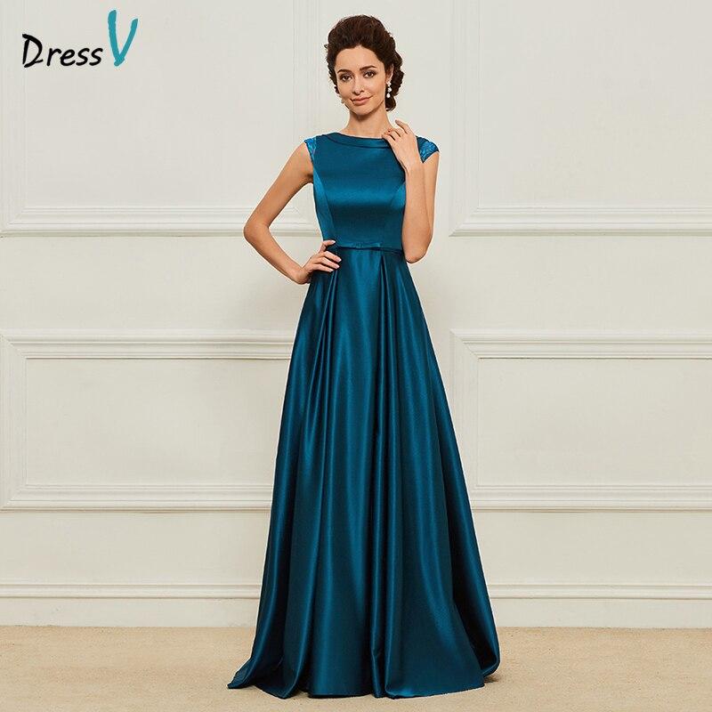 Simple Elegant Wedding Dresses With Sleeves: Dressv Blue Long Mother Of The Bride Dress A Line Cap