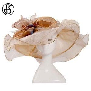 Image 5 - FS 2019 ורוד קנטאקי דרבי כובע לנשים אורגנזה שמש כובעי פרחים אלגנטי קיץ גדול רחב שולי גבירותיי חתונה כנסיית מגבעות לבד