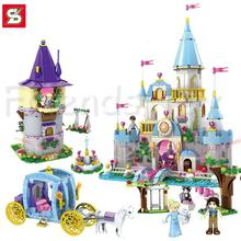 Cinderella Castle Carriage Princess Series Rapunzel Tower Building Brick Block Minifigure Girls Toy Friends Compatible With Lego