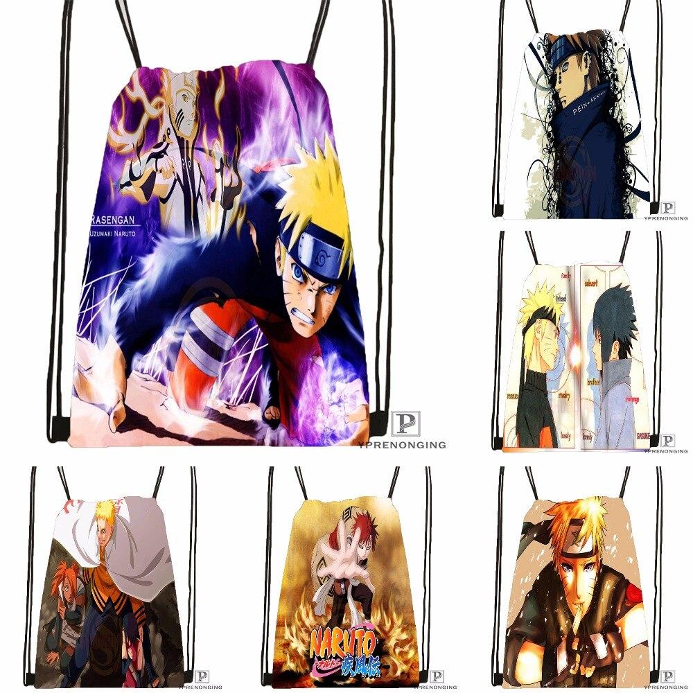 Custom Anime Naruto Drawstring Backpack Bag Cute Daypack Kids Satchel (Black Back) 31x40cm#180531-02-64