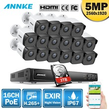ANNKE 16CH 5MP H.265+ HD PoE Network Video Security System 16pcs 4mm Lens IP67 Outdoor POE IP Cameras Plug & Play PoE Camera Kit escam hd ip camera network video camera poe splitter