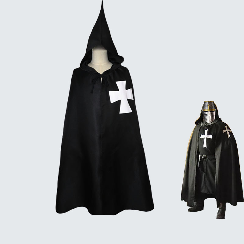 Historical Medieval Knights Templar Crusader Warrior Costume For Adult Men Fighter Black Robe Cloak Cross Hooded Cape Halloween
