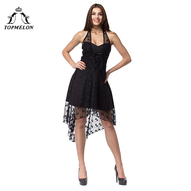 TOPMELON Corset Dress Gothic Slimming Shapwear Shapers Black Halter Lace Tulle Dresses Shows Party Club Lace Up Corset Dress