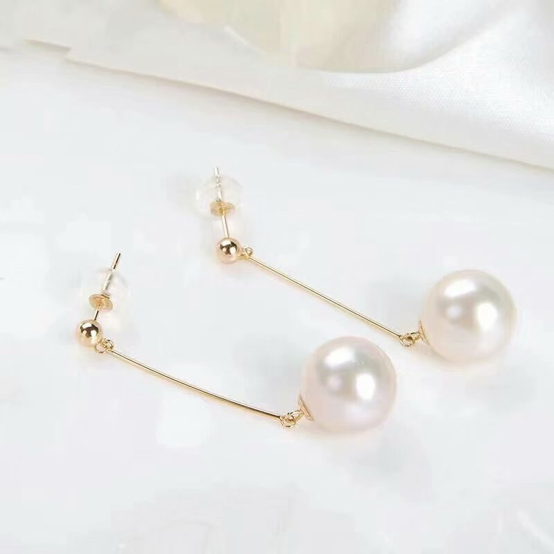 shilovem 18k yellow Natural freshwater pearls Drop Earrings fine Jewelry women trendy anniversary Christmas gift new myme9 10zz in Earrings from Jewelry Accessories