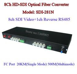 8CH 2MP 1080 P HD-SDI Video Data Fiber Optische Media Converter Zender & Ontvanger-Video/RS485 data over single fiber 20 KM
