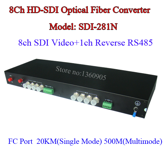 8CH 2MP 1080P HD-SDI Video Data Fiber Optical Media Converter Transmitter & Receiver - Video/RS485 Data Over Single Fiber 20KM