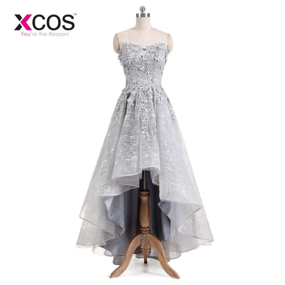 XCOS 2018 New Arrival vestido de festa Grey Lace   Prom     Dress   High Low Applique Beads Pageant Special   Dress   For Women Evening Gown